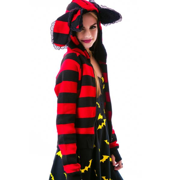 Creatures Of The Night Striped Hoodie