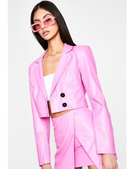 Bubblegum Superclass Sass Crop Blazer