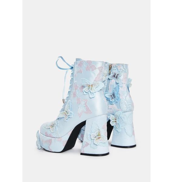 Sugar Thrillz Take Me Away Butterfly Platform Boots