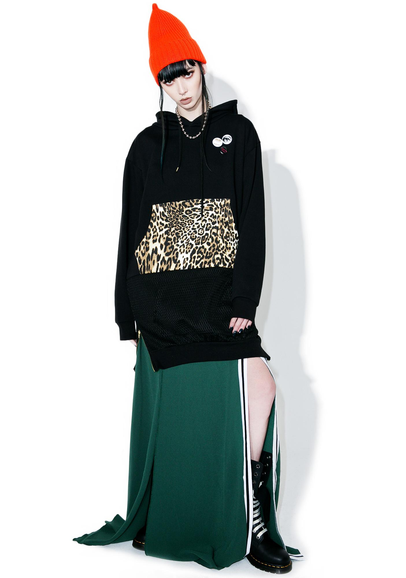 Happiness Black Leopard Print Hoodie