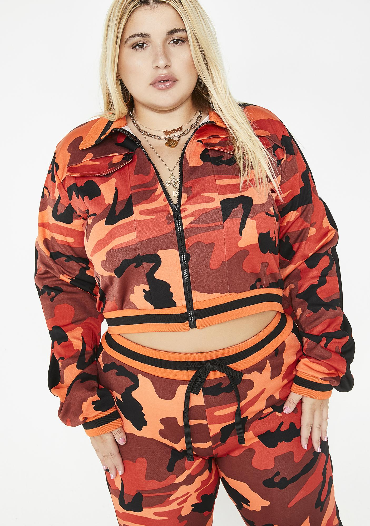 20cd3860e8d Plus Size Red Camo Jacket And Joggers Set
