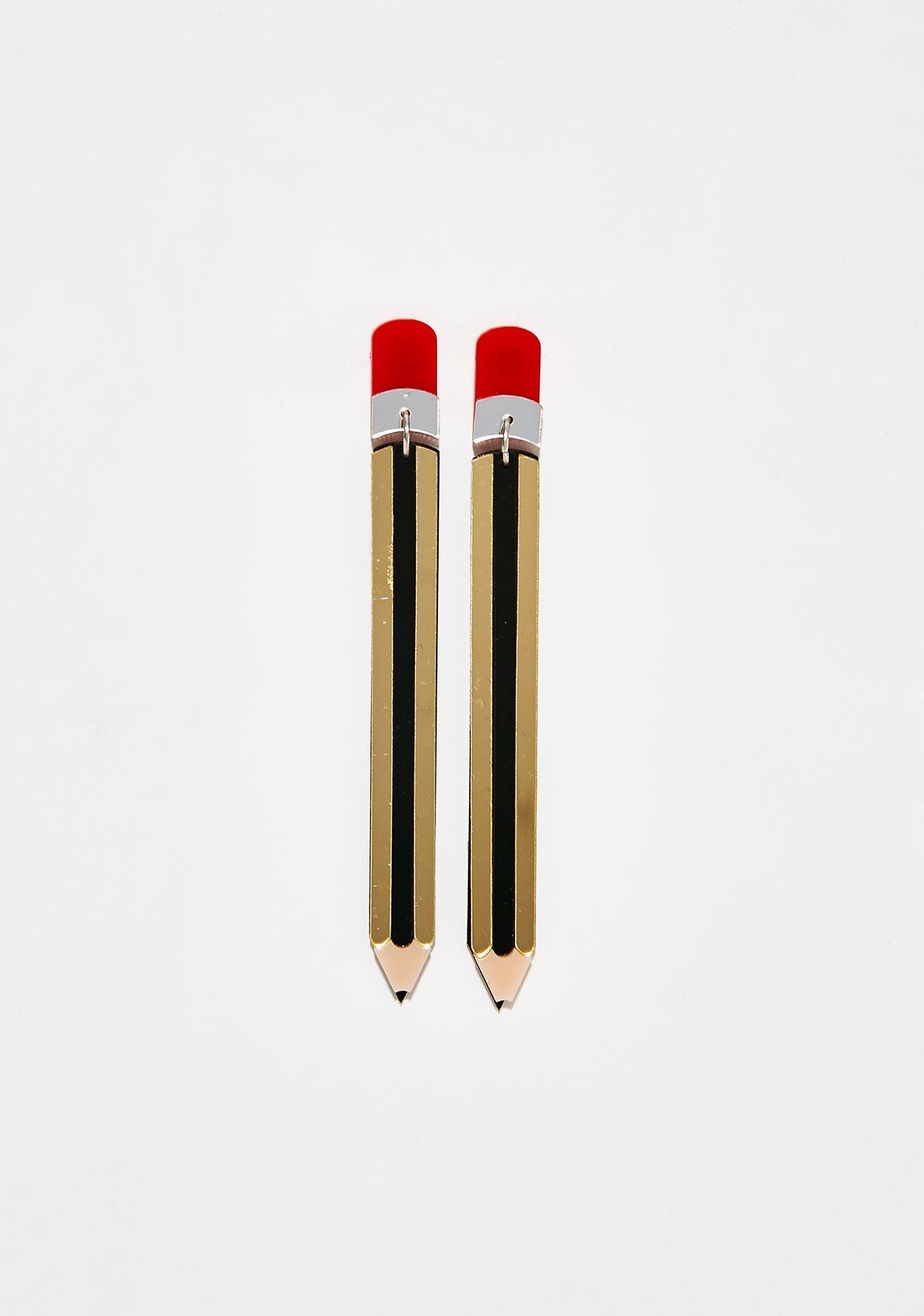 Side Note Pencil Earrings