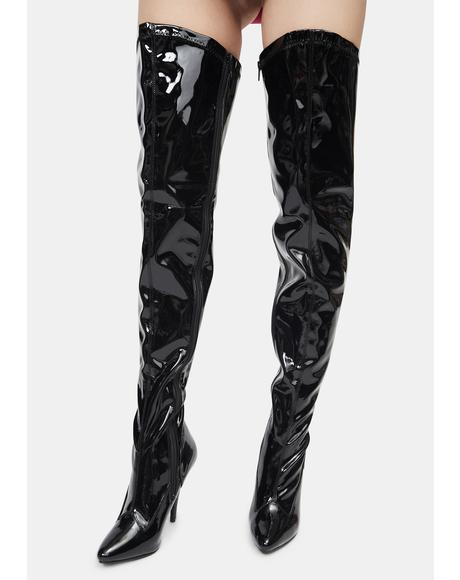 Black What I Deserve Patent Thigh High Boots