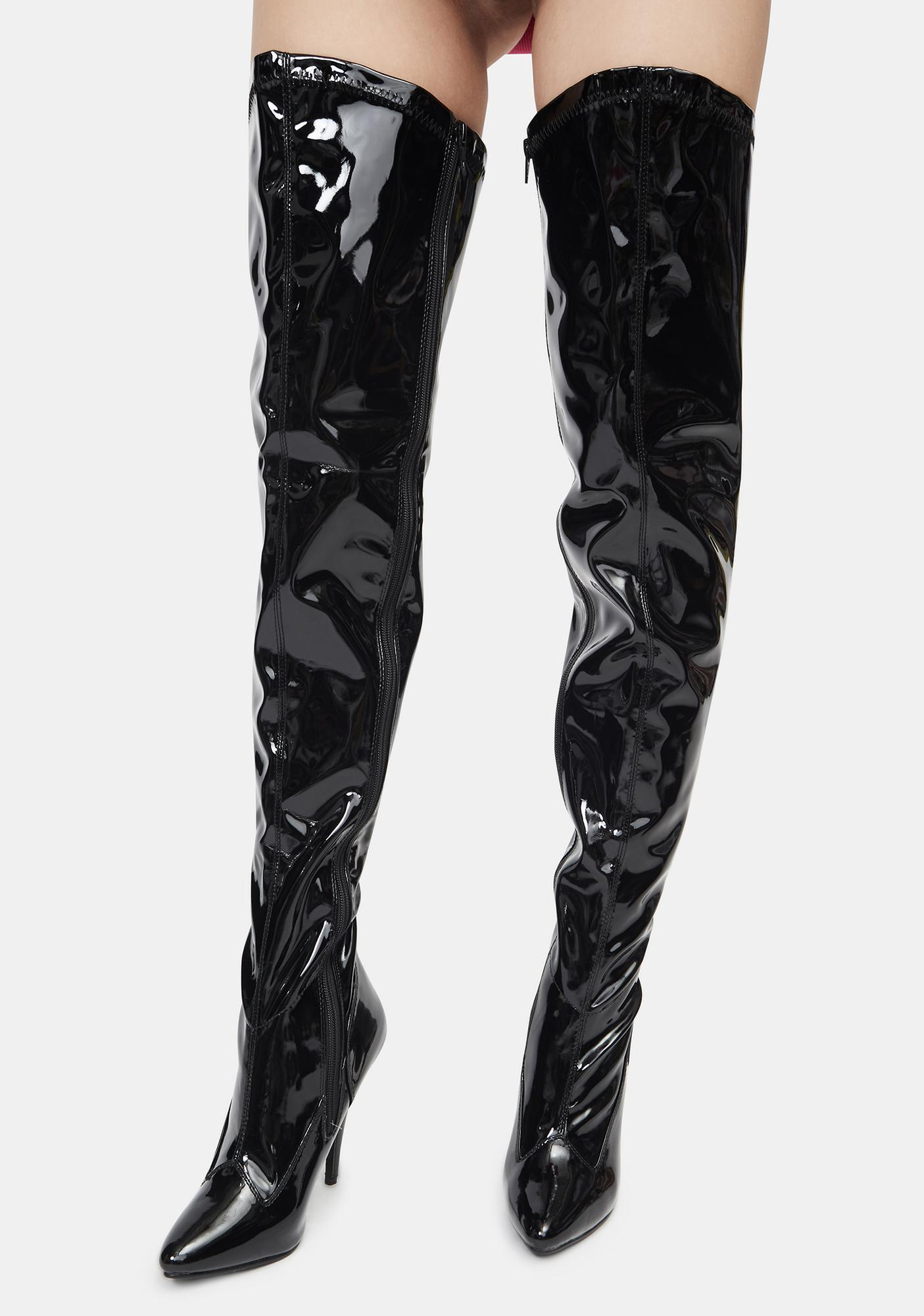 Pleaser Black What I Deserve Patent Thigh High Boots
