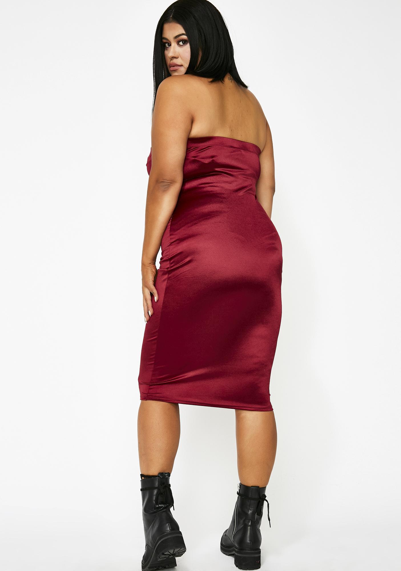 Wine Stunna Girl Satin Dress