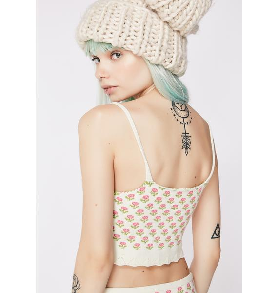 Knitty Kitty Flowers and Lace Cami Top