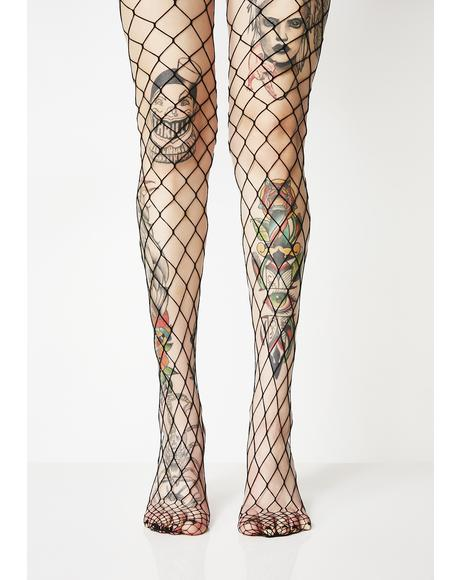 Midnight Sport Mode Fishnet Tights