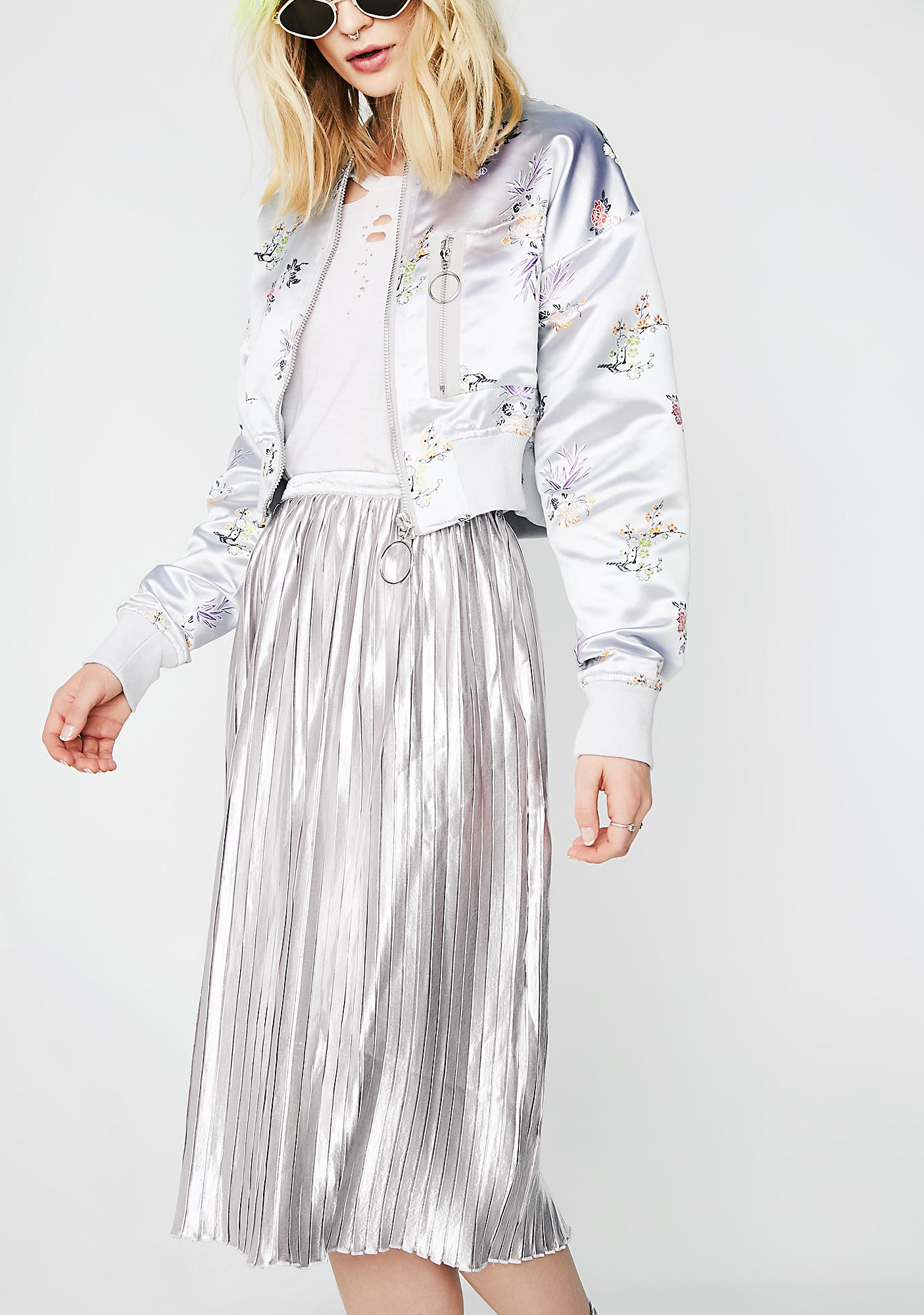 Glamorous Liquid Metal Pleated Skirt