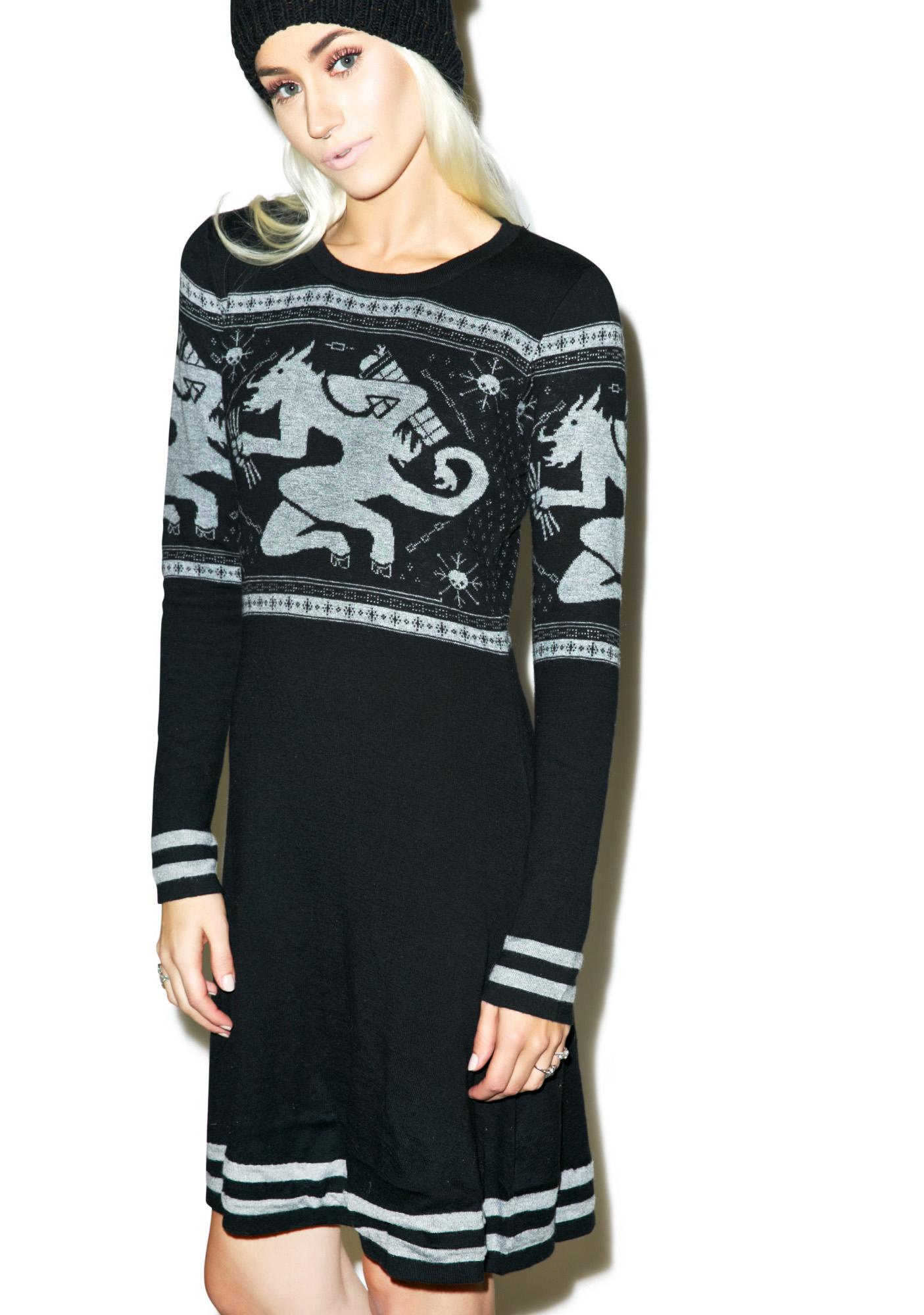 Sourpuss Clothing Krampus Fair Isle Sweater Dress