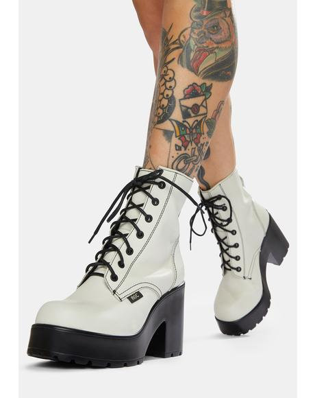 Mascot White Leather Combat Boots