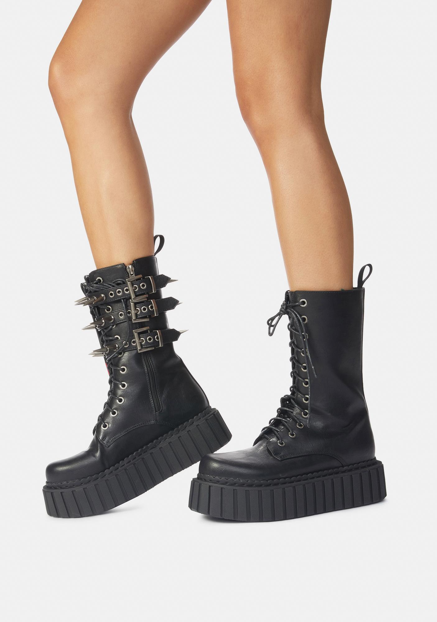 Lamoda Skull Chunky Creeper High Ankle Holster Boots
