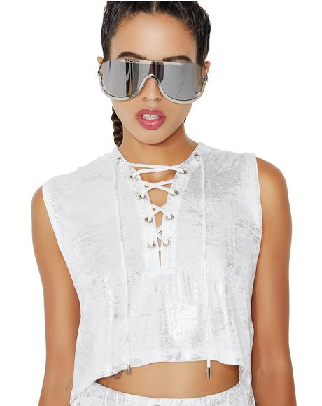 Got To Shine Metallic Crop Top
