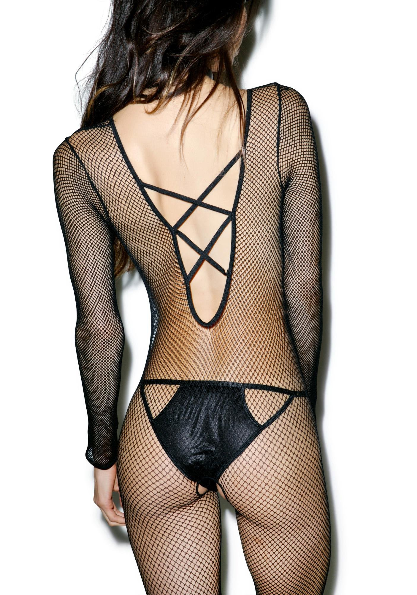 Posso Criss Cross Fishnet Onesie