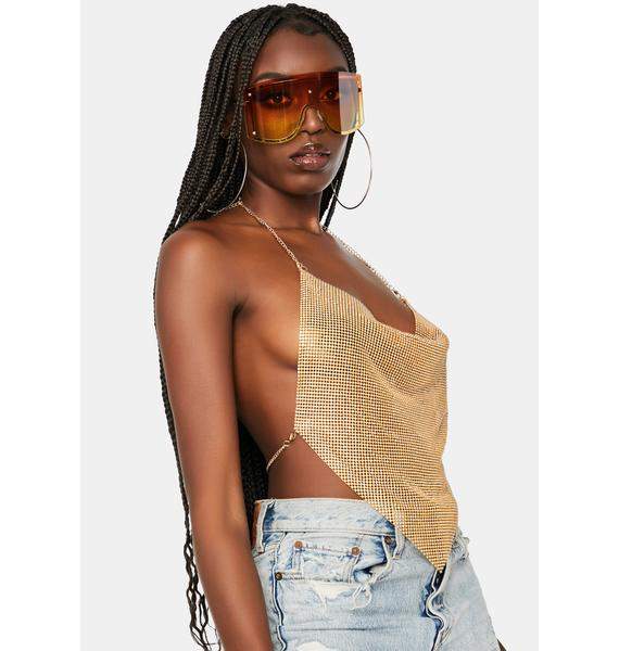 Golden Miss Luxurious Metal Mesh Halter Top