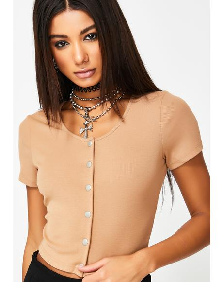 Button Up Crop T-Shirt