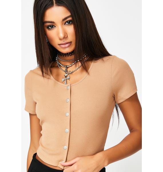 Glamorous Button Up Crop T-Shirt