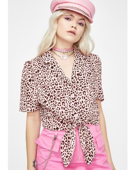 She's A Hustler Leopard Blouse