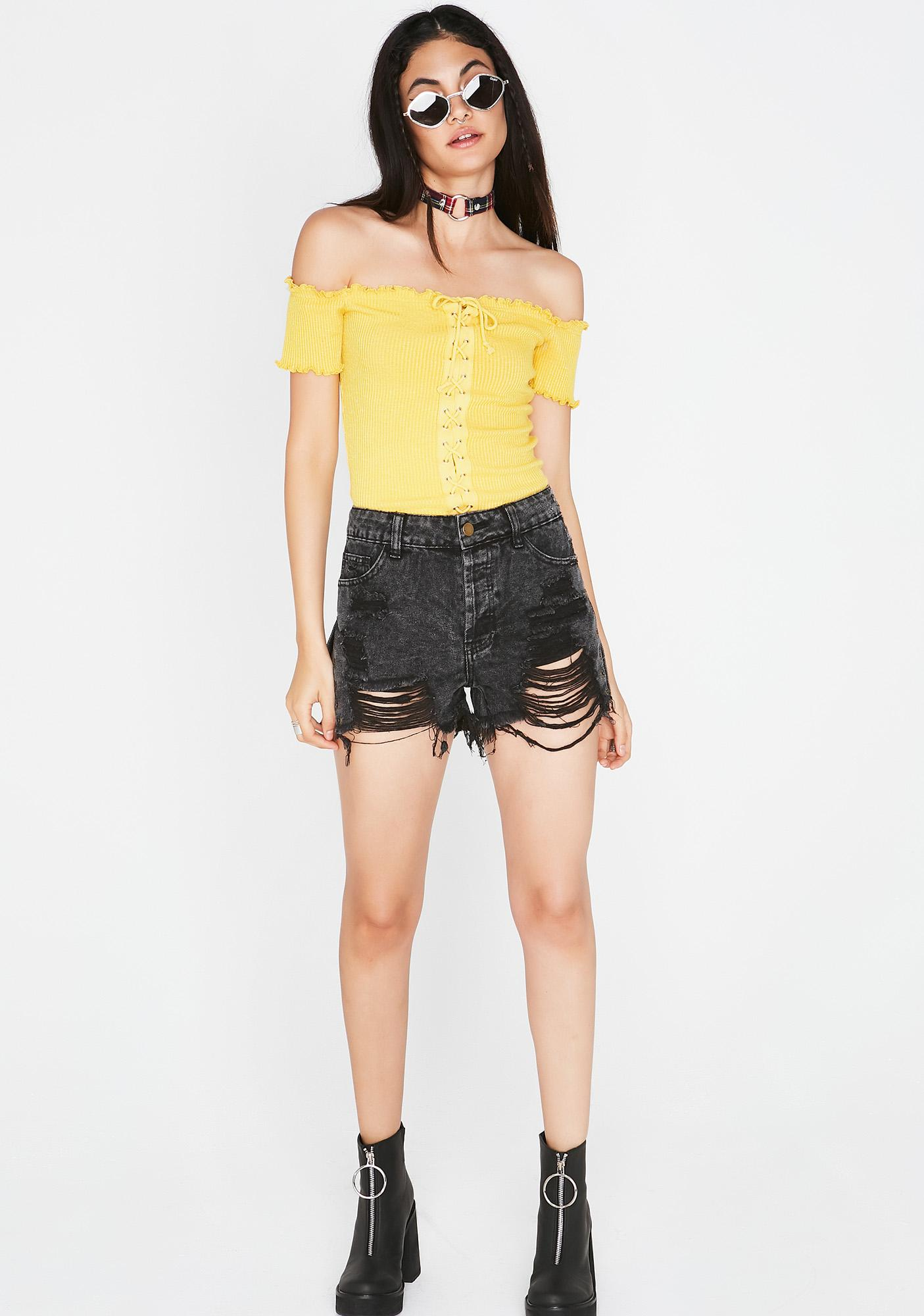 Crossed Lines Lace-Up Top