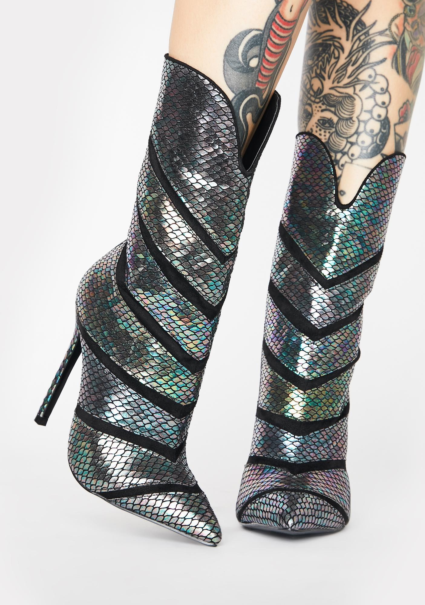 Lemon Drop by Privileged Plushin Metallic Snakeskin Boots