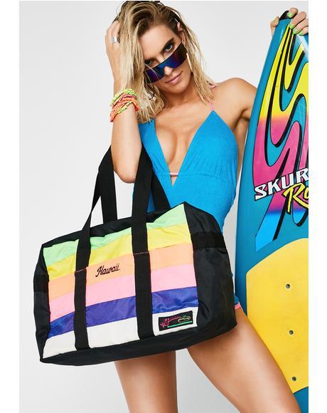 Vintage 80s Neon Rainbow Tote Bag