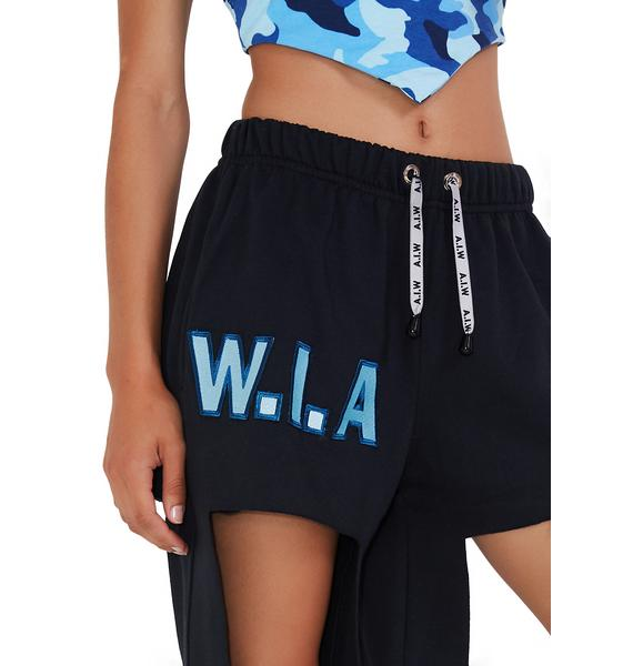 W.I.A Black Big Hole Sweatpants