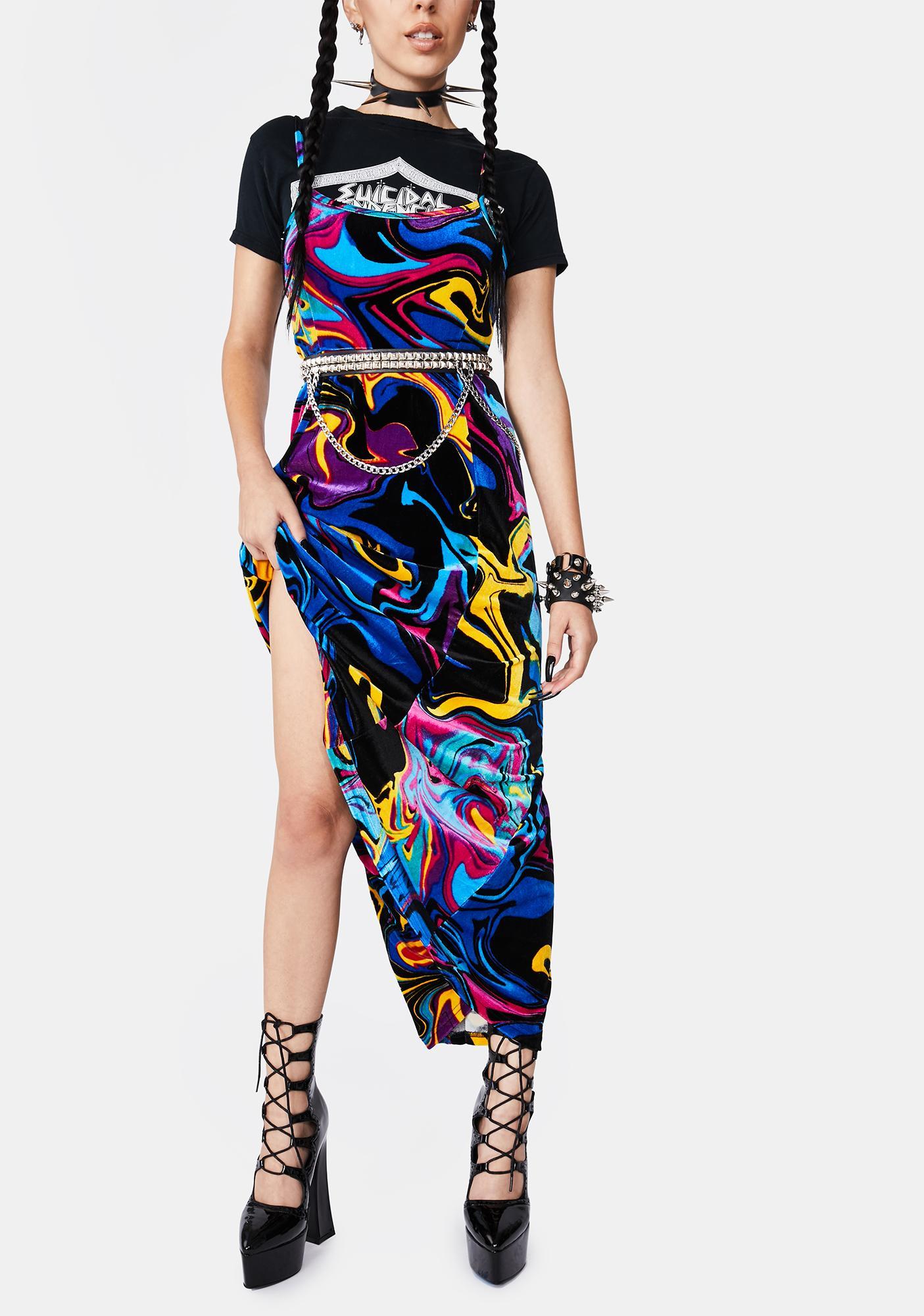 Black Friday Psychedelia Midi Dress Dolls Kill