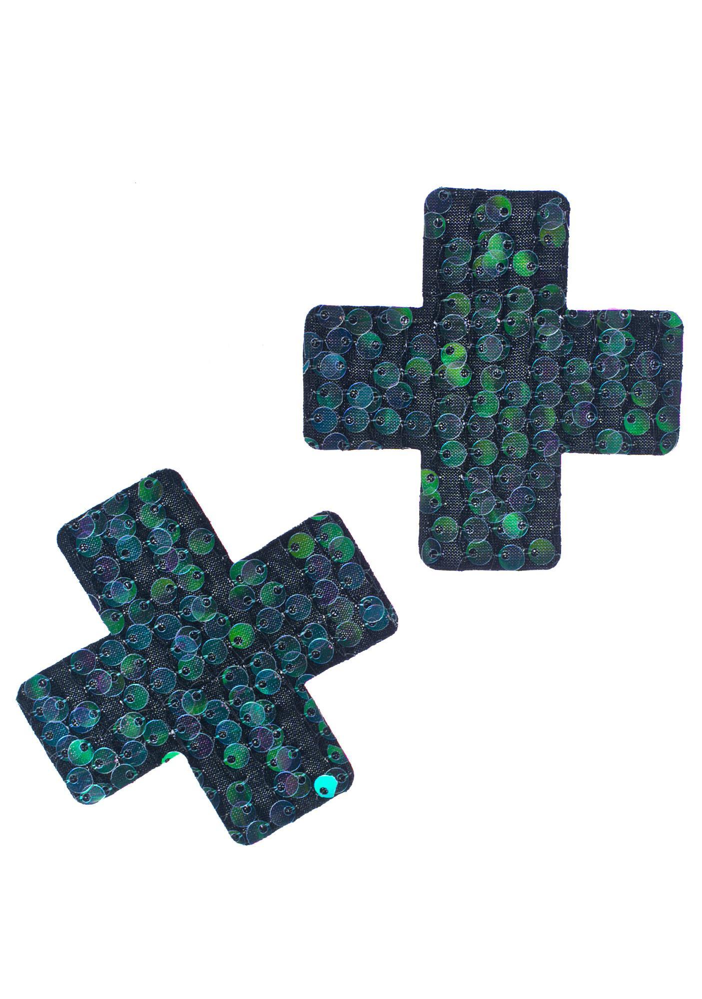 Little Black Diamond Sequin Cross Pasties