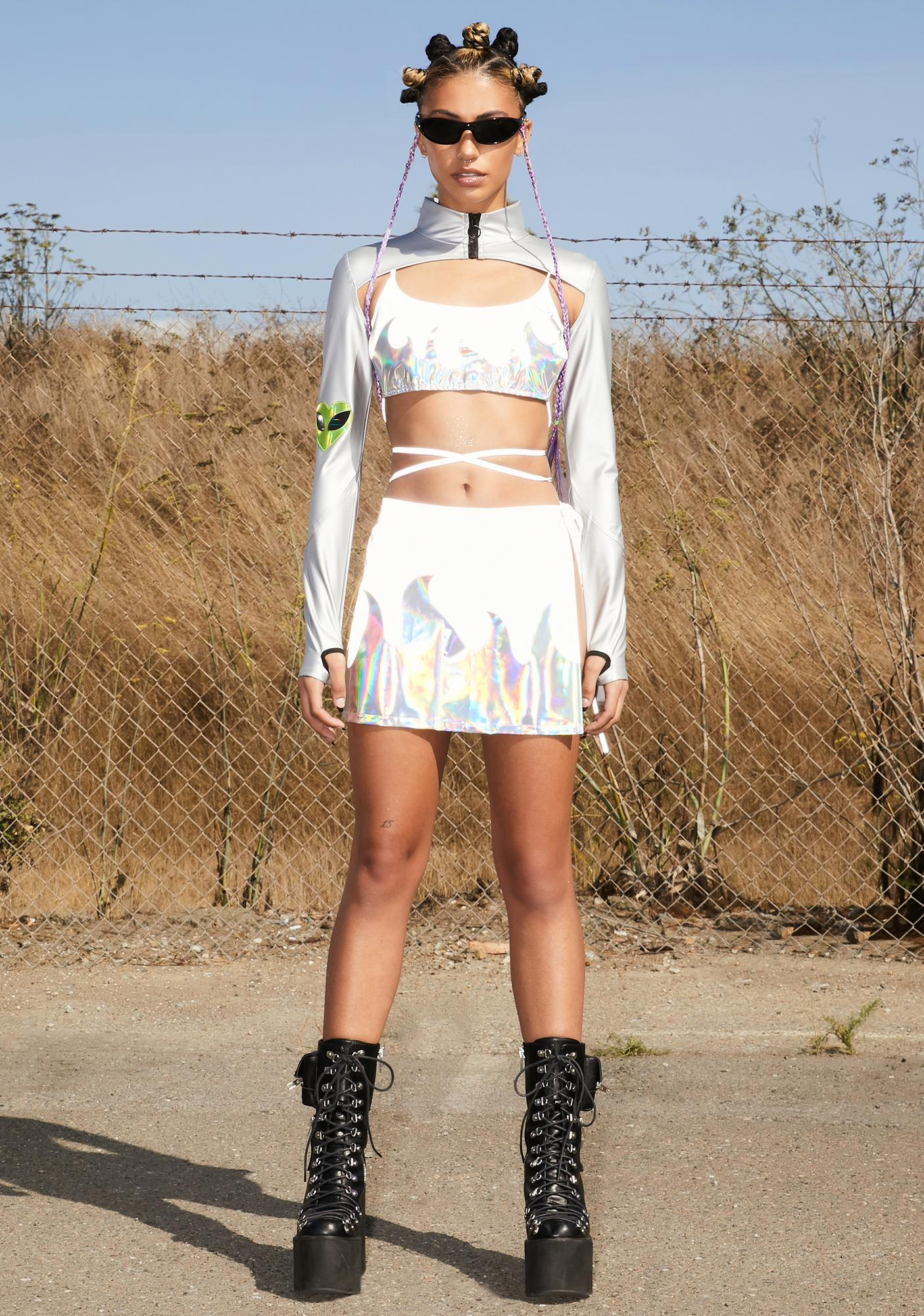 Club Exx Meteor Magic Reflective Wrap Skirt
