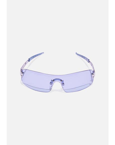 Pale Blue Shield Sunglasses