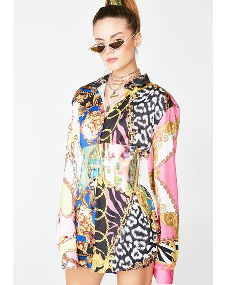 Mixed Scarf Print Oversized Shirt