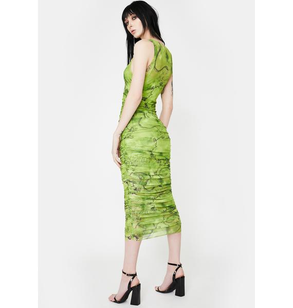I AM GIA Green Crescent Mesh Midi Dress