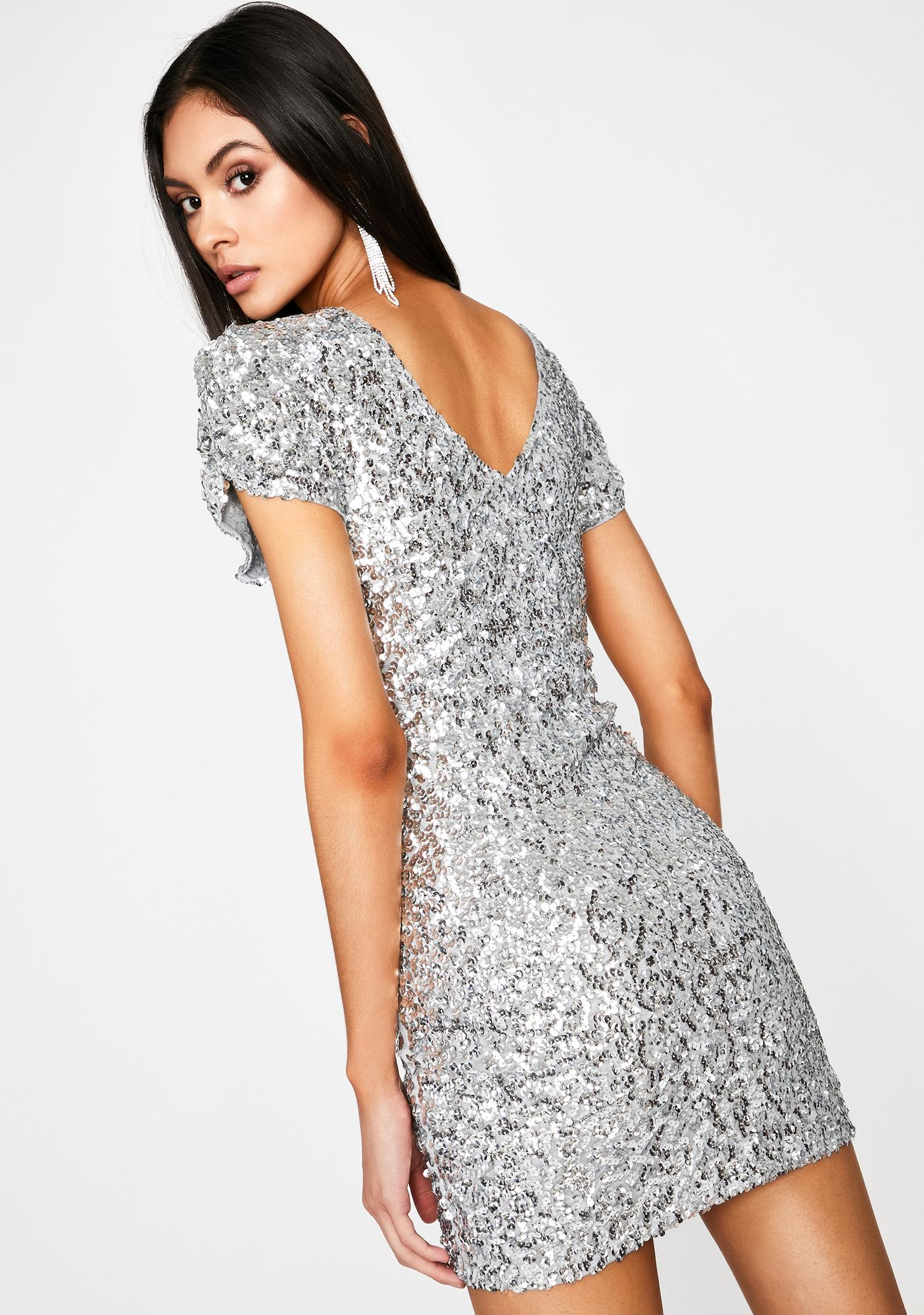 Chrome 80s Prom Night Sequin Dress
