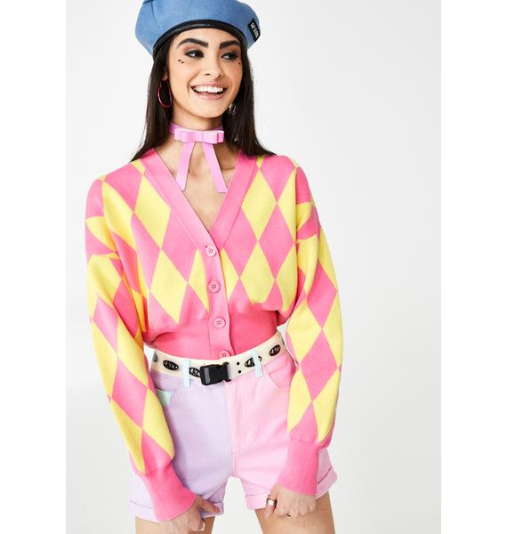 Lazy Oaf Pink And Yellow Harlequin Cardigan
