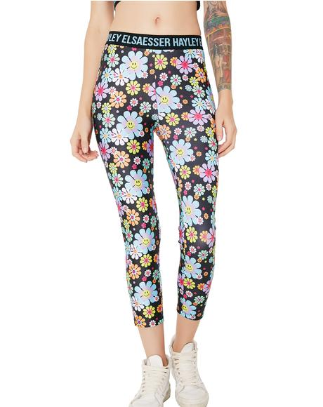 Flower Smiley Face Leggings