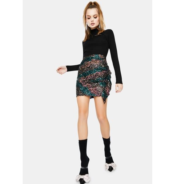 ASTR THE LABEL Afterglow Sequin Mini Skirt
