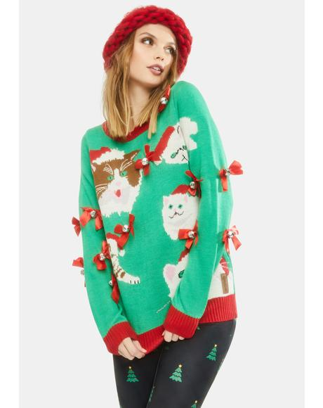 Crazy Cat Lady Holiday Sweater
