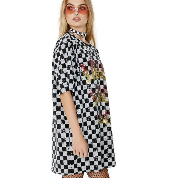 Jaded London Sequin Checkerboard Dress