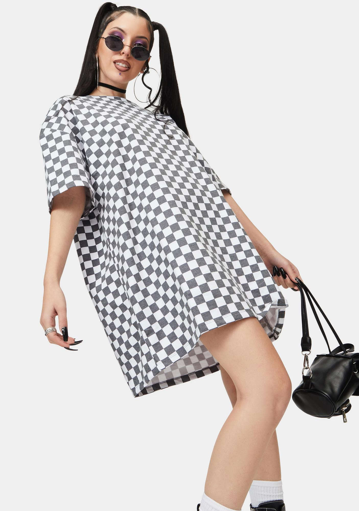 NEW GIRL ORDER White Checkerboard Tee