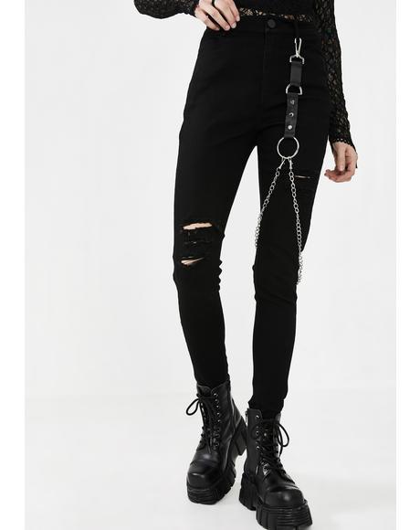 Metal Punk Denim Jeans