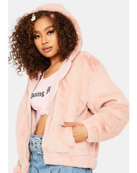 Misty Petals Faux Fur Jacket