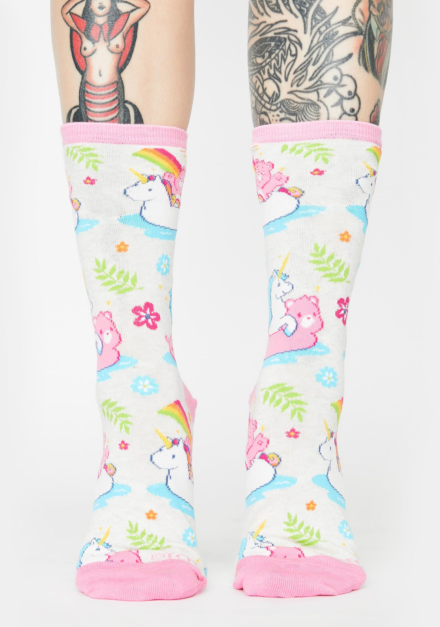 Socksmith Design White Believe Crew Socks
