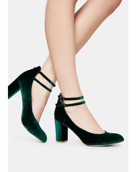 Limbo Green Velvet Mary Jane Heels