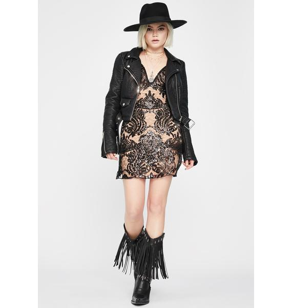 Free People Night Shimmers Embroidered Dress