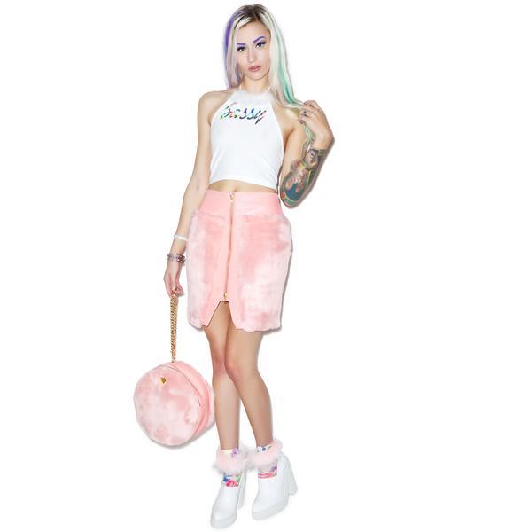 Joyrich Candy Fur Front Zip Skirt