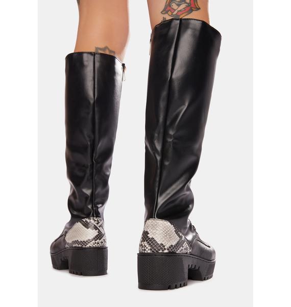 Venom Pick Me Up Knee High Combat Boots