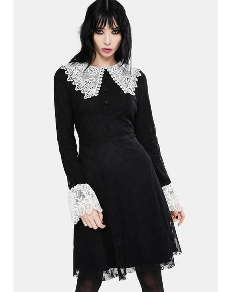 Black Weird Sisters Lace Fit And Flare Dress