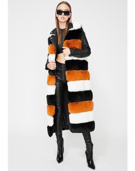 Jenny Lin Long Faux Fur Vest