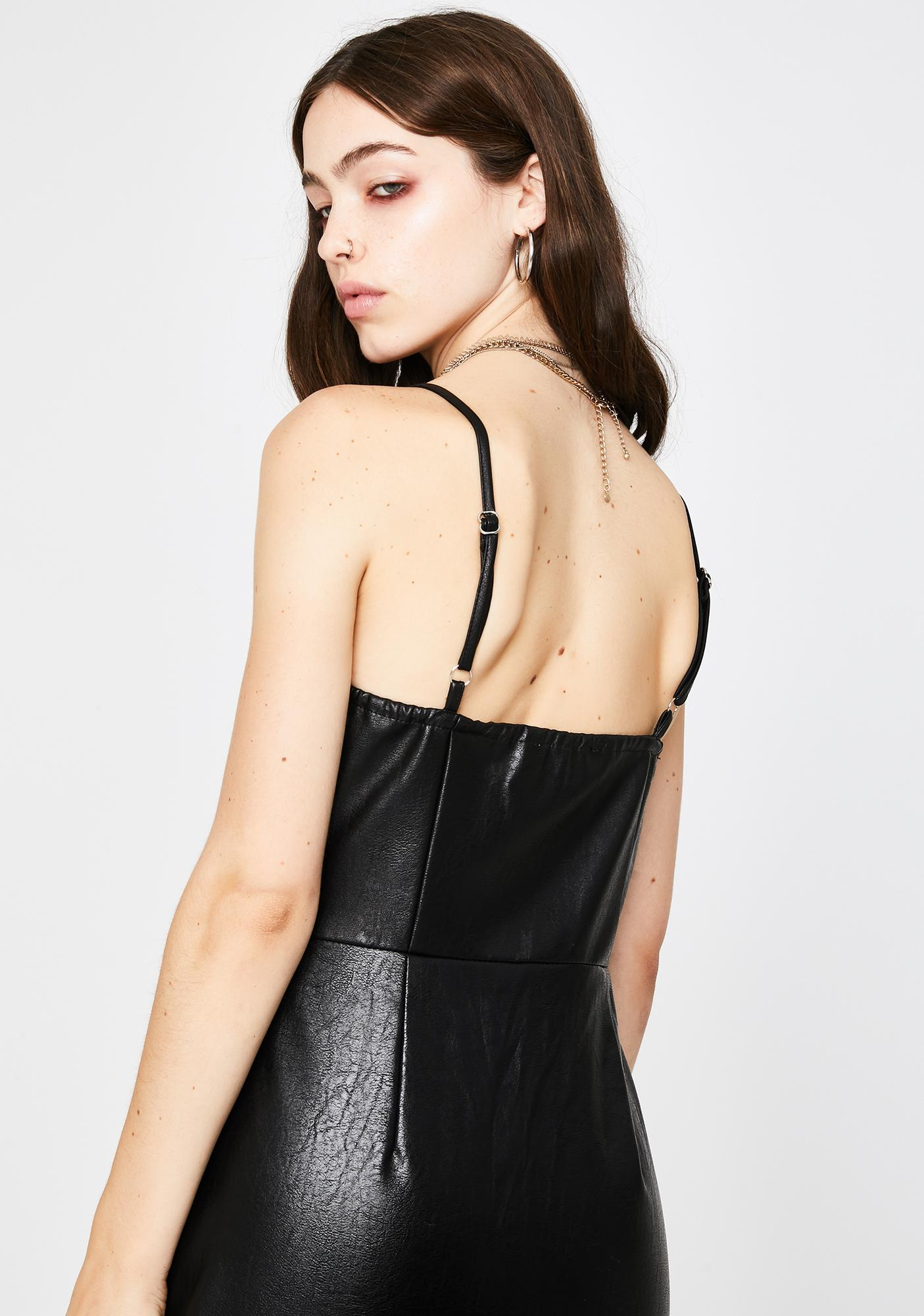 Glamorous Black Faux Leather Button Up Dress