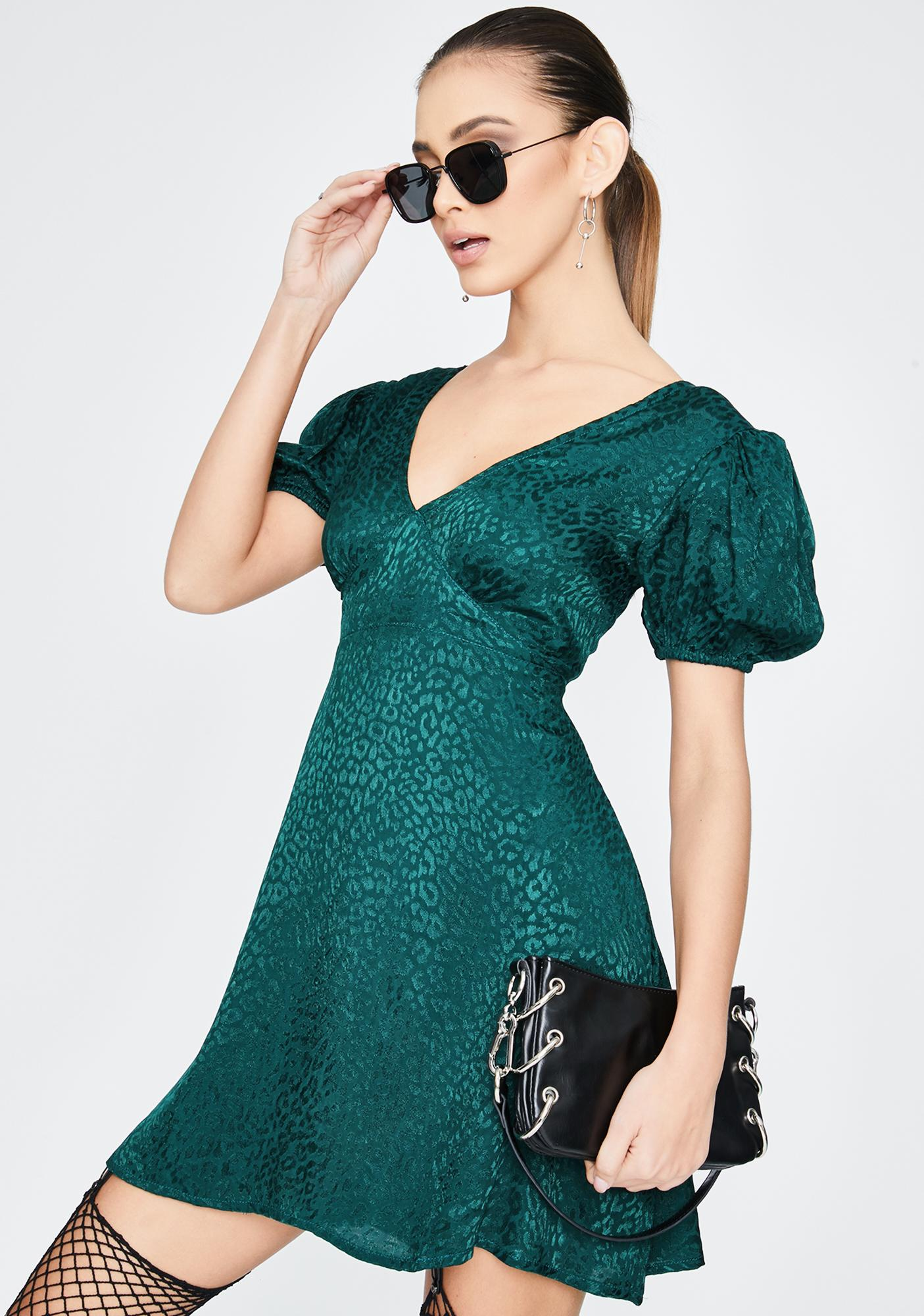 Motel Forest Green Elfy Mini Dress