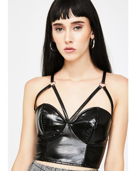 Black Vinyl Bralet Top